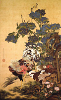 Rooster, Hen and Hydrangeas
