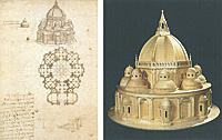 Leonardo da Vinci, Centrally planned church and its reproduction after the codex, from Ms. Ashburnham, codex: Institut de France, Paris, model: Opera Laboratori Fiorentini, Florence