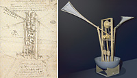 Leonardo da Vinci, Flying ship and its reproduction after the codex, from Ms. Ashburnham, codex: Institut de France, Paris, model: Opera Laboratori Fiorentini, Florence