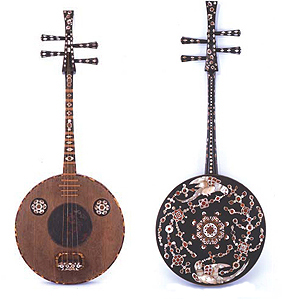 Rosewood Chinese Lute with Mother-of-Pearl Inlay