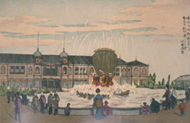 Print by KOBAYASHI Kiyochika of the fountain at the art museum where the second National Industrial Exhibition was held (1881)