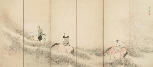 重要文化財 山野行楽図屏風 (左隻) 与謝蕪村筆 江戸時代・18世紀
