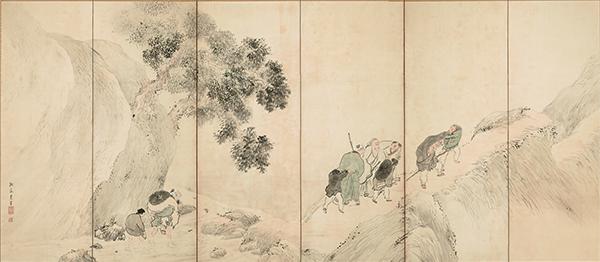 重要文化財 山野行楽図屏風 与謝蕪村筆 江戸時代・18世紀
