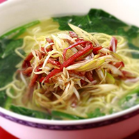 "Noodle Soup with Shredded ""Chinese roast Pork"" and Green Onion"