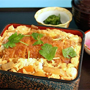 Pork Cutlet on Rice in a Lacquered Box, Soy Sauce Flavored