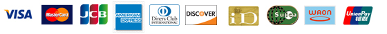 Credit cards (Visa, MasterCard, JCB, AMEX, Diners, DISCOVER),e-cash (iD, Suica, WAON), UnionPay