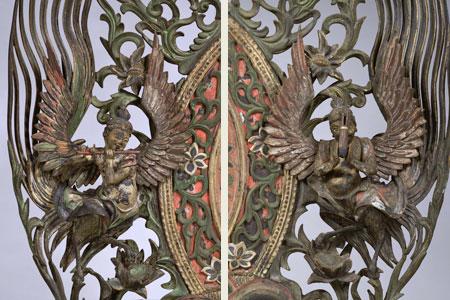 重要文化財 文殊菩薩騎獅像 康円作 鎌倉時代・文永10年(1273) の光背部分の迦陵頻伽