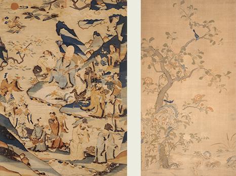 緙絲仙人図壁掛と緙絲花鳥図壁掛