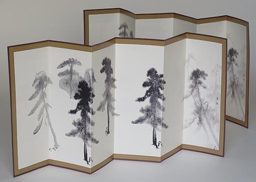 スタンプでつくる松林図屏風