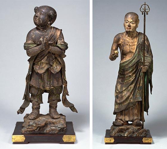 善財童子立像、仏陀波利三蔵立像