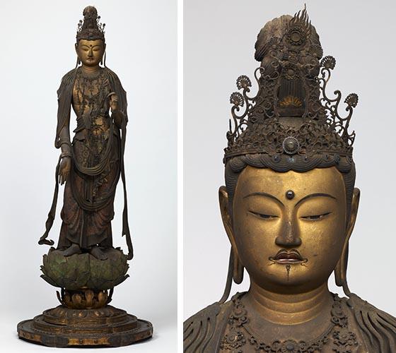菩薩立像とその頭部