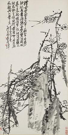 墨梅自寿図軸 呉昌碩筆 中華民国14年(1925) 東京国立博物館蔵