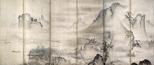 重要文化財「四季山水図屏風」(右隻)