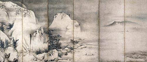 重要文化財「四季山水図屏風」(左隻)