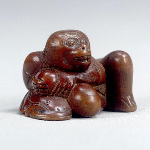 猿鯰木彫根付 江戸時代・19世紀