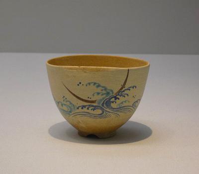 色絵波に三日月文茶碗 仁清 江戸時代