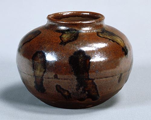 褐釉茶入 銘 木間 瀬戸 江戸時代・17世紀