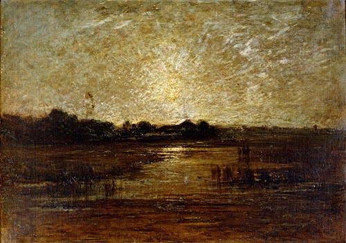 風景(不忍池) アントニオ・フォンタネージ筆 明治9~11年(1876~78)