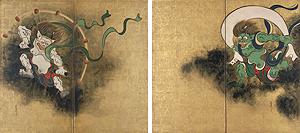 重要文化財 風神雷神図屏風 尾形光琳筆 江戸時代・18世紀