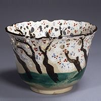 Bowl, Cherry tree design in overglaze enamel and openwork