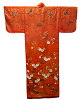 Kosode (Garment with Small Wrist Openings), Double cherry blossoms, horsetails, dandelions and swallows on red figured satin