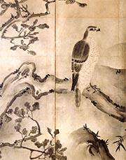 鷹山水図屏風