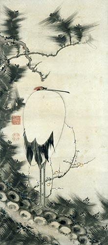松梅孤鶴図
