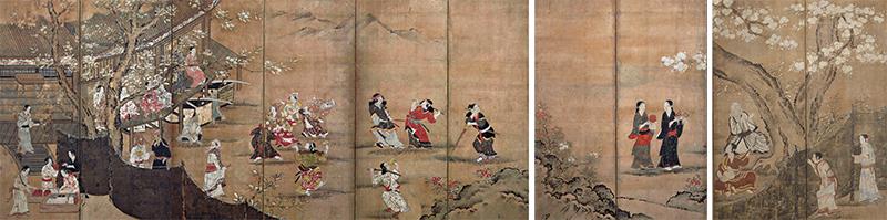 国宝 花下遊楽図屛風 狩野長信筆 江戸時代・17世紀