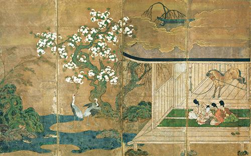 重要文化財 厩図屛風 室町時代・16世紀 岡崎正也氏寄贈