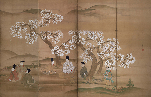 観桜図屛風 住吉具慶筆 江戸時代・17世紀 西脇健治氏寄贈