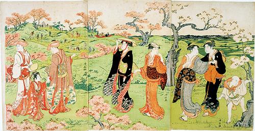飛鳥山花見 鳥居清長筆 江戸時代・18世紀