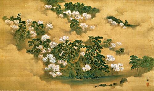嵐山春景 塩川文麟筆 明治6年(1873) 塩川文鱗氏寄贈