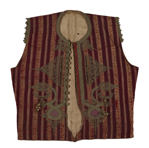 Waistcoat, Design of stripes in float weave on a purple ground