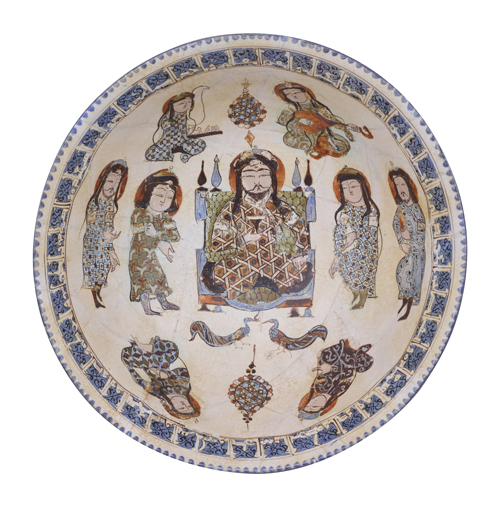 Bowl, Figure design in overglaze enamel