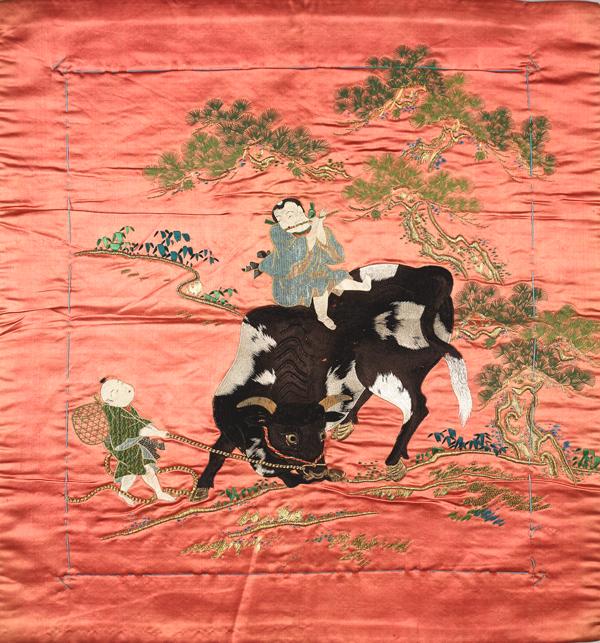 袱紗 淡紅繻子地騎牛笛吹童子図の写真