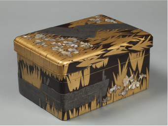 Original Work: Writing Box with the Eight-Plank Bridge, Lacquered wood with maki-e, lead, and mother-of-pearl (National Treasure): image