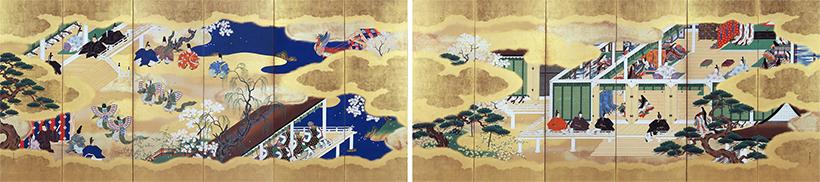 源氏物語図屛風(絵合・胡蝶)(げんじものがたりずびょうぶ(えあわせ・こちょう)作品画像