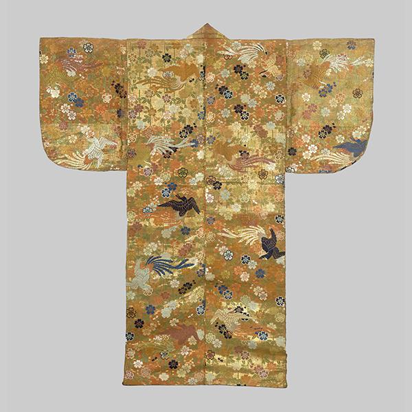 唐織 金紅段枝垂桜尾長鳥模様 作品画像