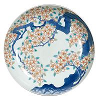 Set of Five Dishes, Cherry tree design in overglaze enamel