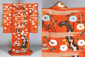 Furisode (Garment with long sleeves), Cherry blossom and stream design on red chirimen crepe ground
