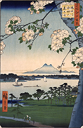 One Hundred Famous Places of Edo: Suijin Shrine and Massaki by the Sumida River