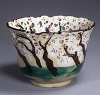 Bowl, Cherry tree design in openwork and overglaze enamel