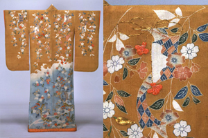Furisode (Garment with long Sleeves), Weeping cherry, chrysanthemum, and tanzaku paperdesign on light-blue and brown crepe