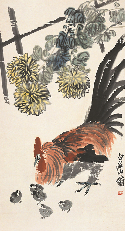 菊花群鶏図