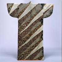 중요문화재 고소데 염색 린즈(綸子)바탕 작은 소나무와 꽃 사슴 단풍무늬