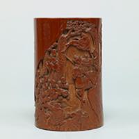 대나무 조각 인물무늬 필통