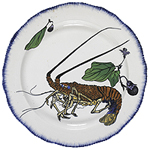 Round Plate with Lobster and Eggplant design