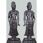 Standing Nikko Bosatsu (Suryaprabha) and Standing Gakko Bosatsu (Candraprabha)