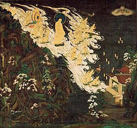 "Welcoming of Amida Buddha and the Twenty-five Bodhisattvas, also known as Haya raigo (""Swift Welcome"")"