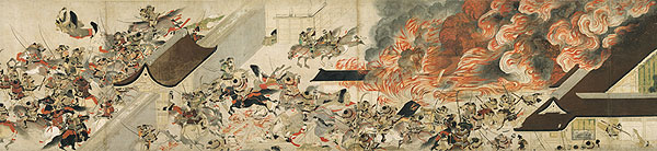 Night Attack on the Sanjo Palace, from the Illustrated Scrolls of the Events of the Heiji Era (detail)